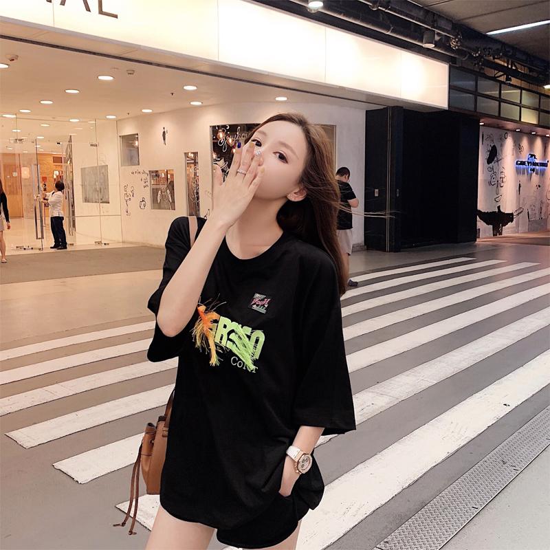 热销41件假一赔十sasa小姐韩版刺绣中长款宽松女t恤