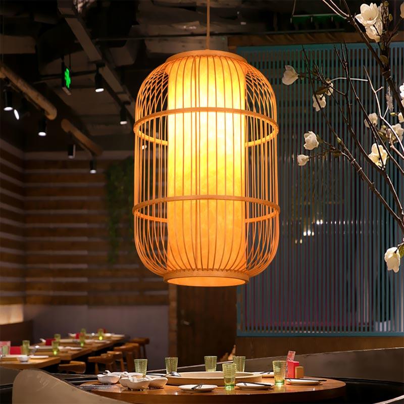 中式仿古鸟笼小吊灯餐厅竹编单头饭店过道走廊玄关灯笼古典中国风