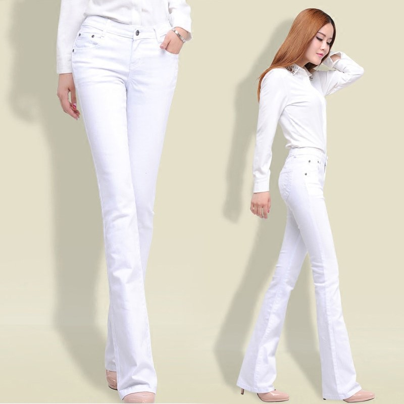 White denim flared pants womens high waisted slightly elongated spring 2020 new slim drape wide leg pants