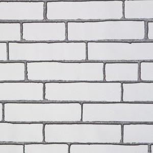 地中海白砖墙纸 中式仿古纯白色砖头壁纸 复古做旧米白灰白色砖纹