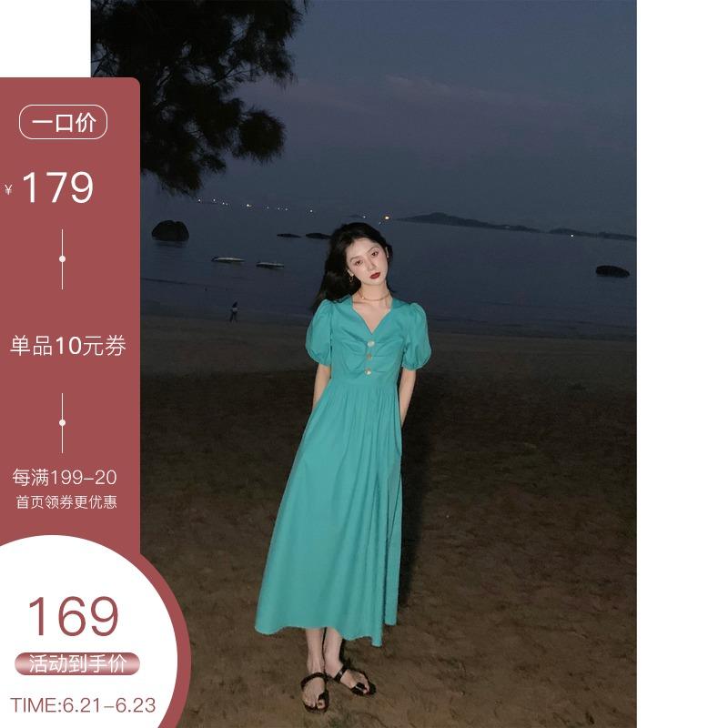 鹭青一苏菲公主 泡泡袖收腰连衣裙女2021夏季新款法式复古V领长裙