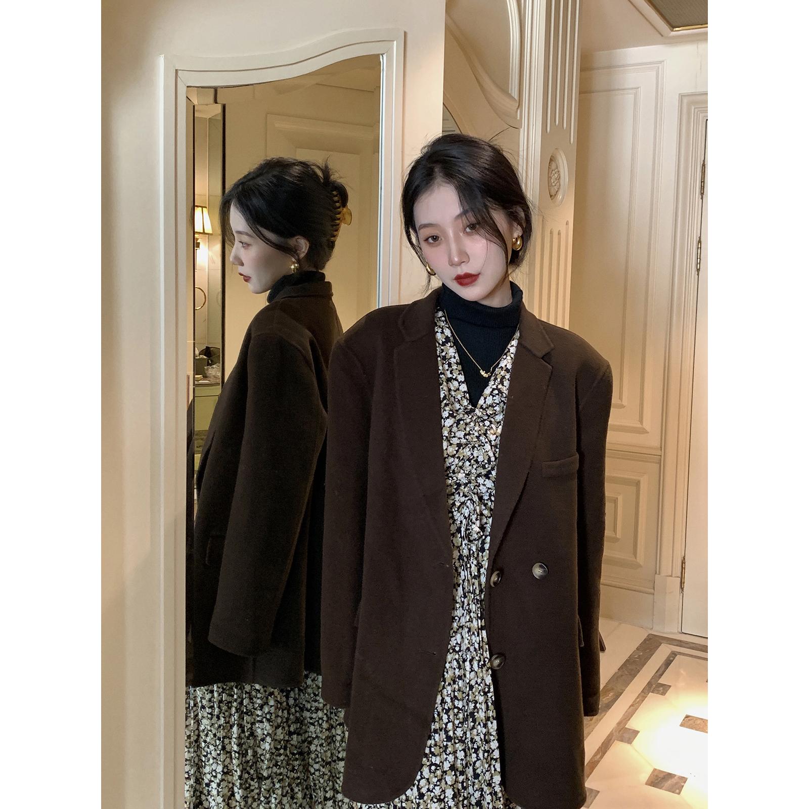 鹭青一复古毛呢西装外套女2020冬季新款气质宽松百搭双面羊绒大衣