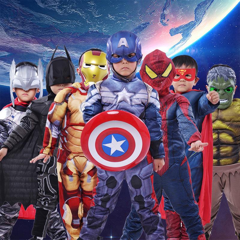 万圣节儿童钢铁侠美国队长蜘蛛侠英雄服装绿巨人肌肉服超人装