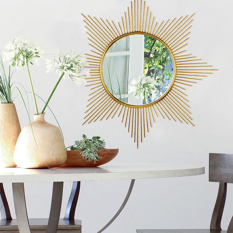 American iron metal round sunglasses wall mounted decorative mirror soft decoration living room sofa background wall porch mirror