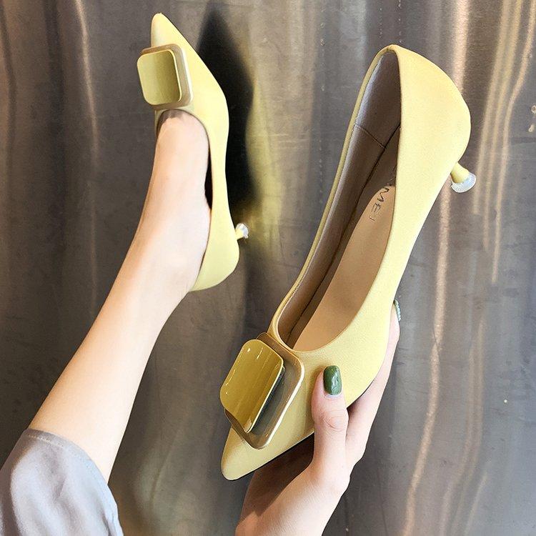 小跟单鞋女夏新款2019低跟细跟高跟鞋尖头浅口鞋子百搭小清新女鞋