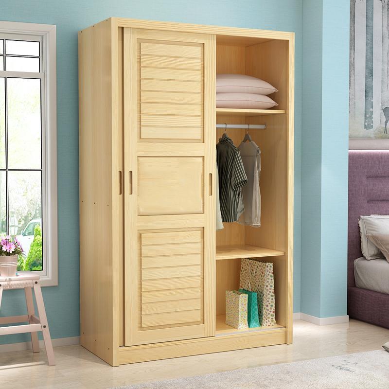 定制 松木衣柜实木简约儿童 推拉移门大衣柜卧室家具原木衣橱木质