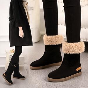 防水雪地靴女士冬季加厚加绒妈妈棉鞋防滑平底中筒孕妇冬鞋内增高
