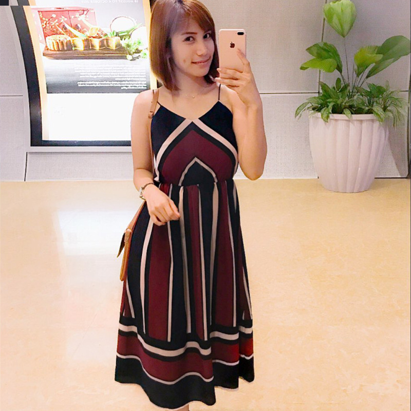 Selling women's clothing collar strap dress color stripe bea