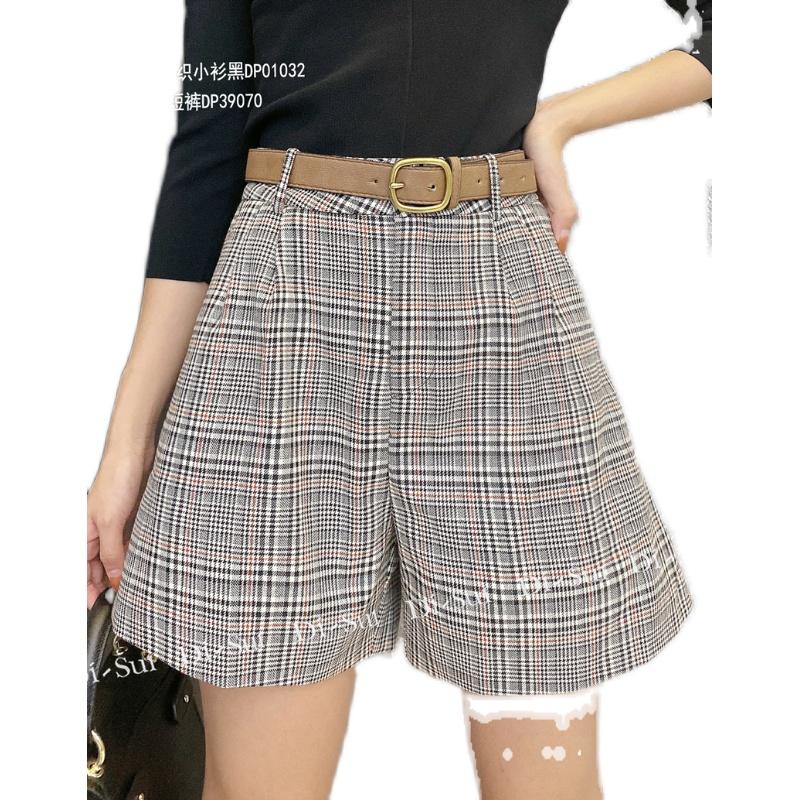 DI-SUI秋冬YZNMAN欧洲女装站2020新款39070格子拼色系腰休闲短裤