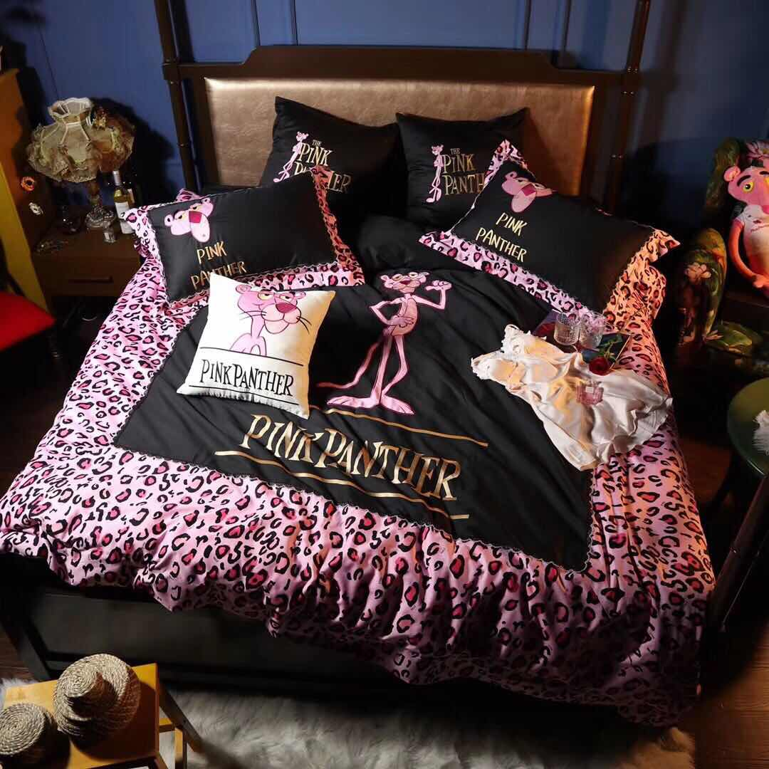 2018 new long staple cotton high end embroidery leopard pink naughty leopard four piece set high end bedding wedding