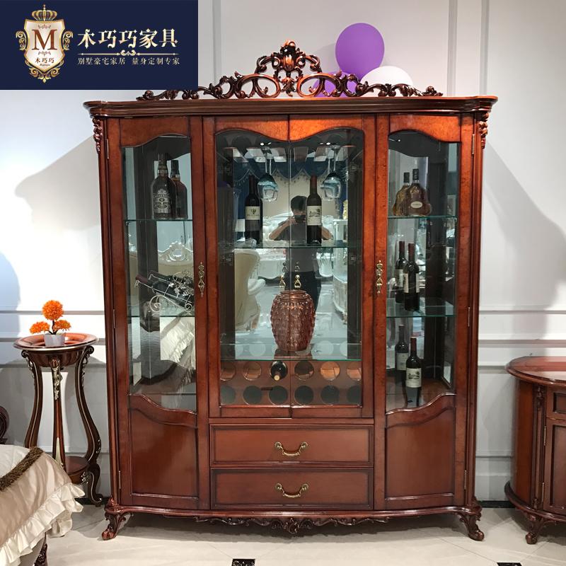 Континентальный все деревянные четыре двери вино / гостиная роскошный новый классическая резьба стекло вино / фортепиано лак горячей сушки мебель