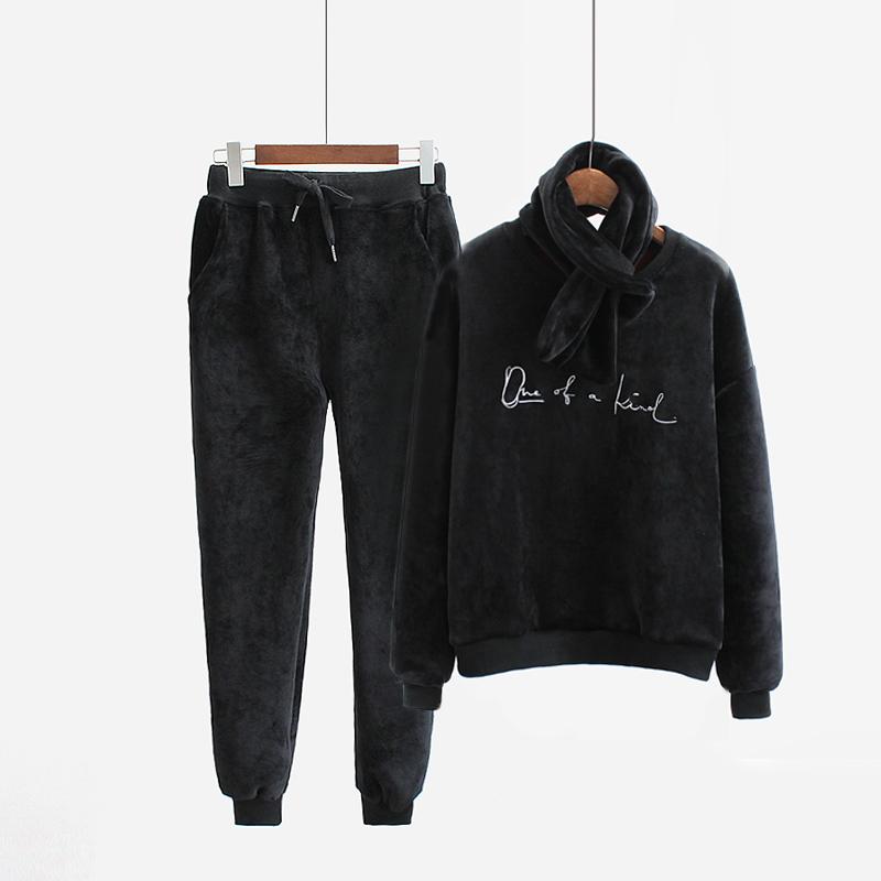 两件套金丝绒套装女时尚2017新款小脚裤加厚加绒运动裤卫衣双面绒