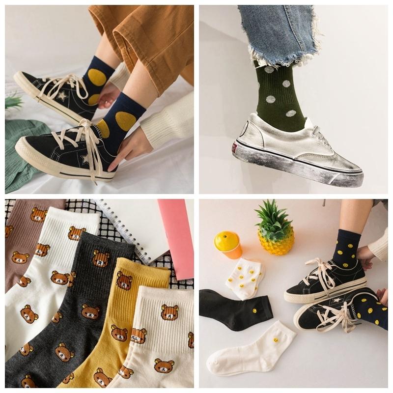 5双装条纹波点字母女士中筒袜夏INS网红复古可爱学院风韩版潮袜子