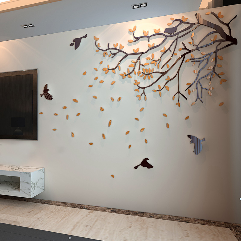 路灯树亚克力3d立体墙贴画客厅沙发电视背景墙壁贴纸卧室房间装饰