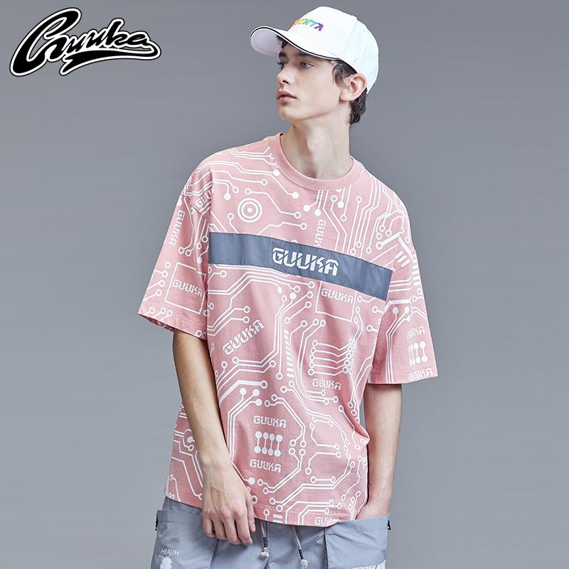 Guuka潮牌短袖T恤男纯棉青少年ins嘻哈反光印花粉色五分袖T恤宽松