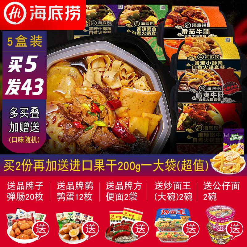 海底捞自煮火锅速食便携自热懒人自助自煮方便素食荤菜5盒小火锅