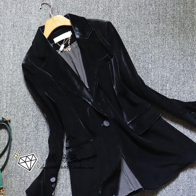 Europe 2020 new European goods vertical feeling black velvet suit coat temperament velvet suit top