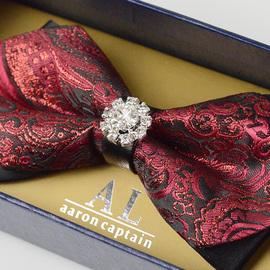 领结男结婚婚礼新郎钻石韩版英伦西装衬衫正装镶钻男士红色蝴蝶结