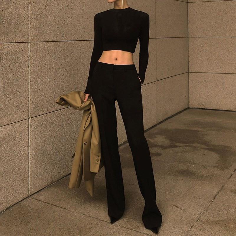 Women's high waist versatile wide leg casual pants阔腿休闲裤