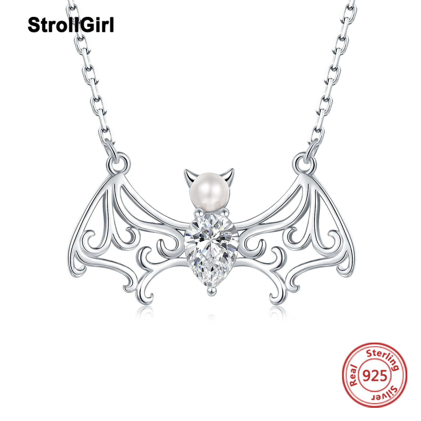 Juzhi S925 Sterling Silver Pearl bat chain Female Gothic wing tear drop Zircon Pendant Necklace Christmas gift
