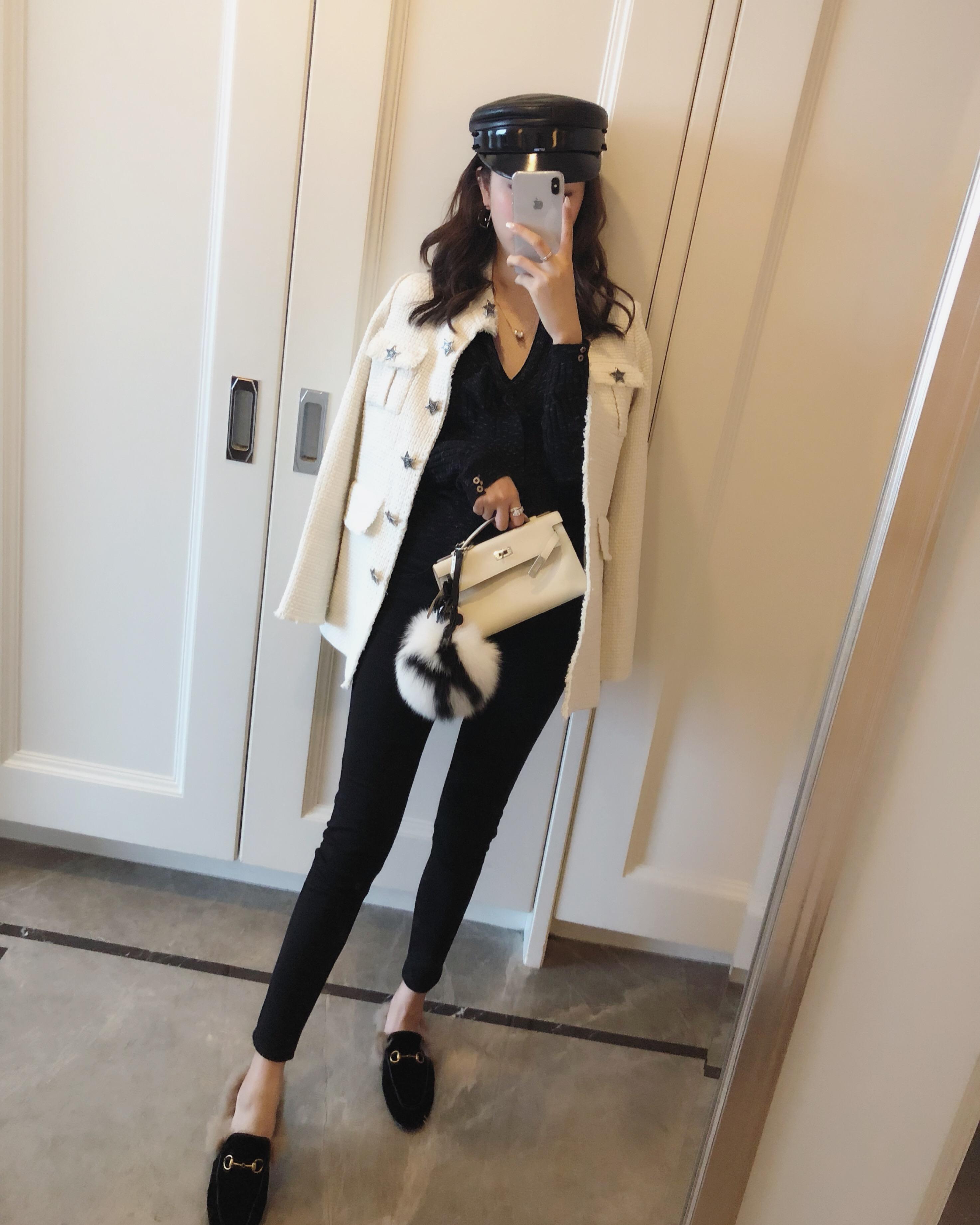 兔兔VIP店2018冬季女装新品气质款精美星星纽扣外套 2色 夹薄棉