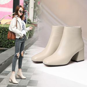 领5元券购买冬季网红女靴子春秋单靴真皮高跟方头短靴女粗跟马丁靴米白色裸靴