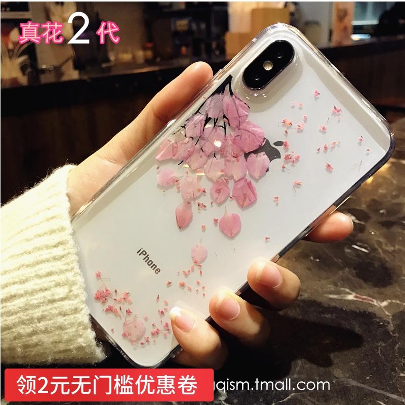 韩风真花唯美 苹果X手机壳硅胶iphone7保护套8plus全包6s防摔女款
