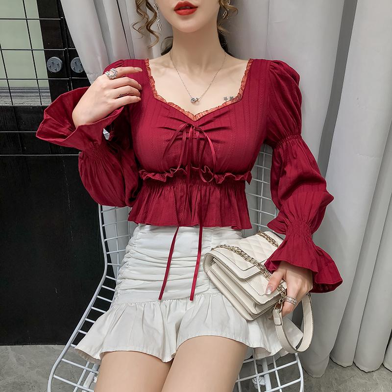 2020早秋褶皱灯笼长袖衬衫女夏季新款抽绳复古方领泡泡袖小上衣女