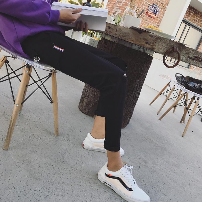 2018夏季黑色青少年破洞九分牛仔裤男小脚修身韩版潮学生9分裤子