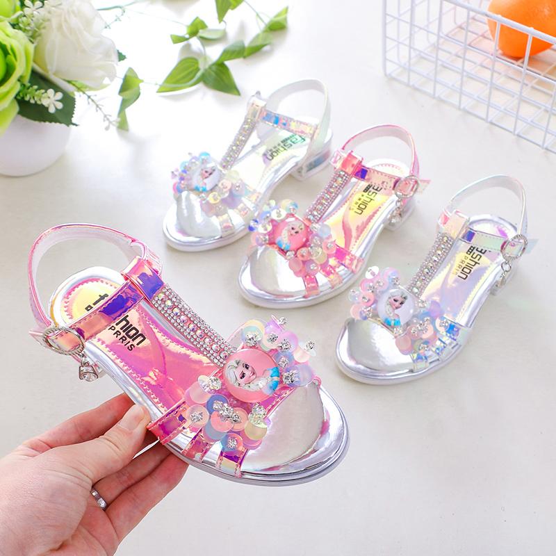 Girls sandals 2021 summer new high heeled fashion show Crystal Princess fashion shoes anti slip light