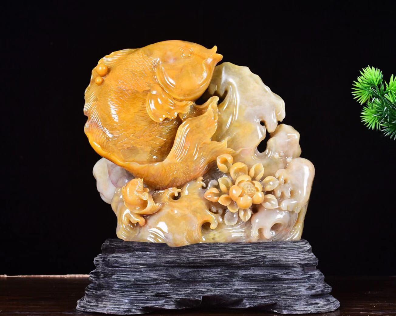 连年有余 鱼摆件 正宗老挝北部田黄 质地晶莹 工艺-田黄(核知道旗舰店仅售1380元)