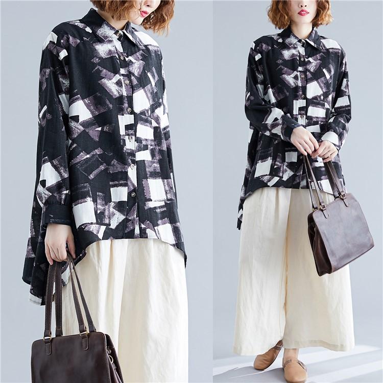 2020春夏新款不规则图案印花棉麻衬衫女长袖韩版宽松休闲翻领衬衣