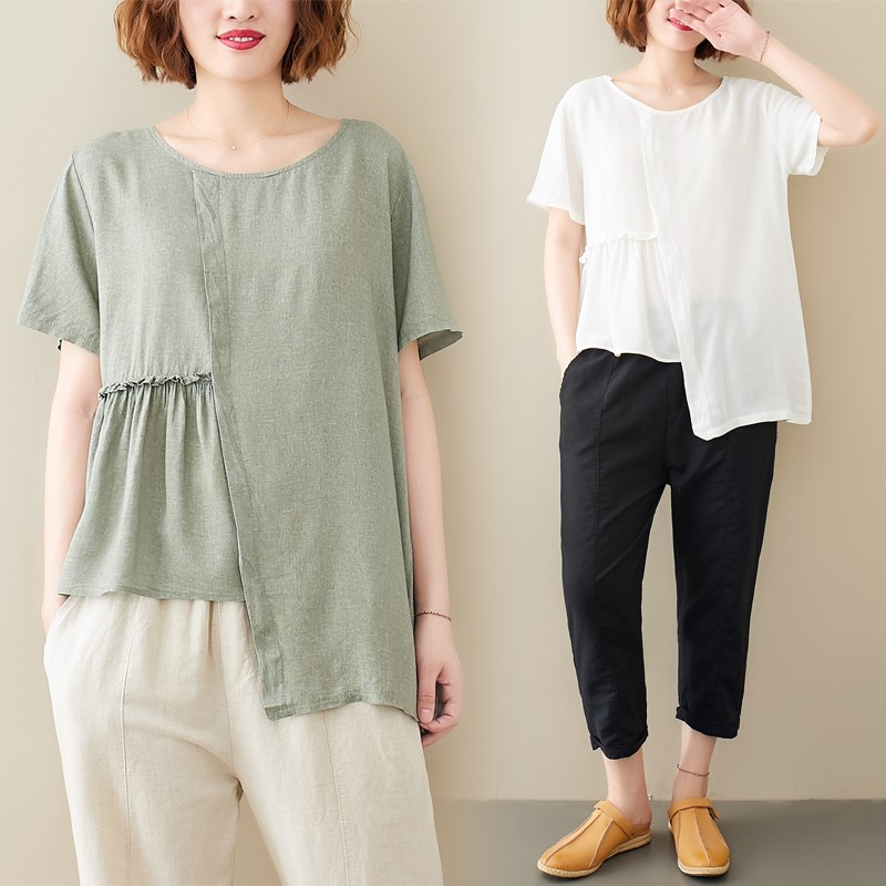 Fat sister large cotton and hemp T-shirt for women Xia new style fat mm literary hem irregular thin wrinkled linen top