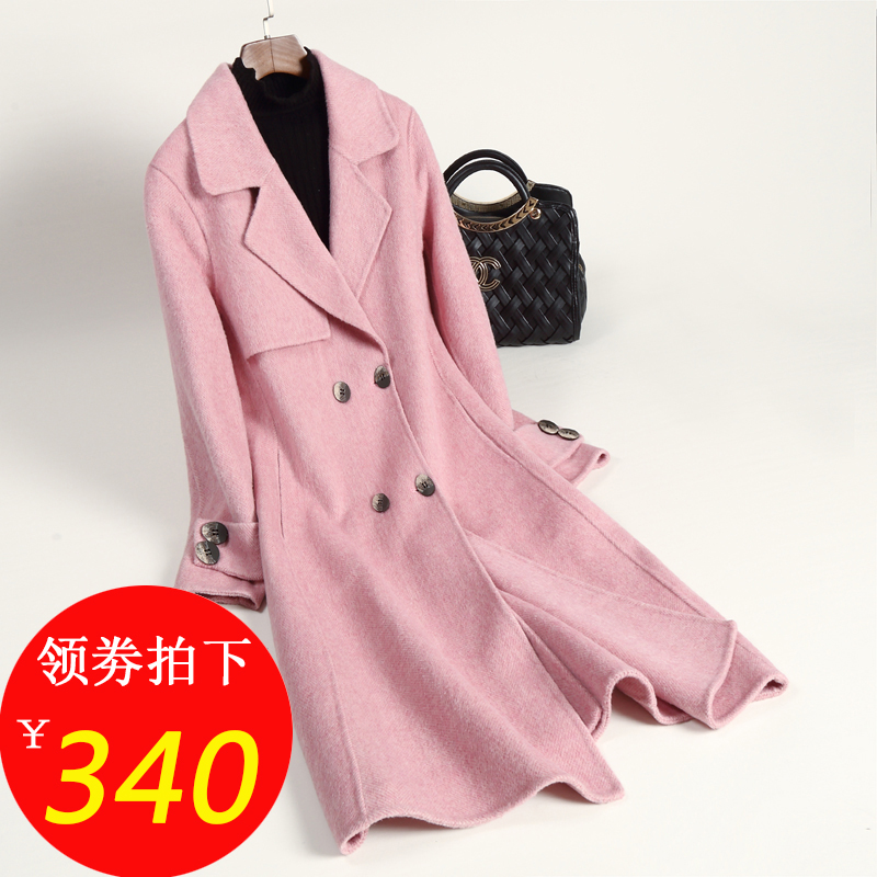 Guyin double-sided woolen coat womens middle long 2019 new off-season fashion double-sided woolen coat with zero cashmere