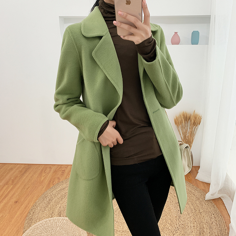 Guyin wool overcoat double-sided tweed womens middle long autumn and winter 2018 slim double-sided cashmere zero double-sided cashmere overcoat women