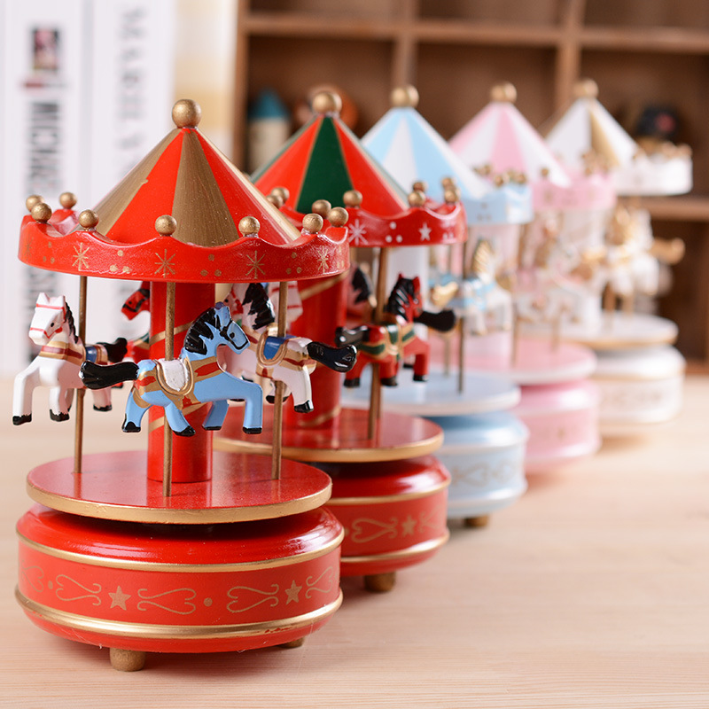 Wooden carousel music box sky city classical music box birthday gift home decoration