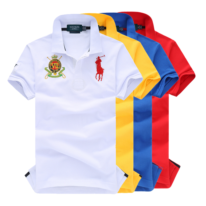 品牌男短袖士polo衫 白色纯棉翻领马球t恤休闲保罗体恤衫宽松半袖