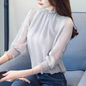 2020秋季新款宽松雪纺衫女长袖很仙的上衣初秋衬衫洋气甜系打底衫