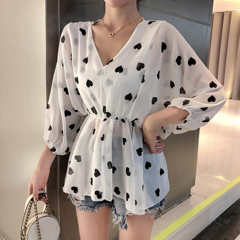 2019韩版新款雪纺防晒衬衣女夏季收腰休闲衬衫短款套头薄款上衣女