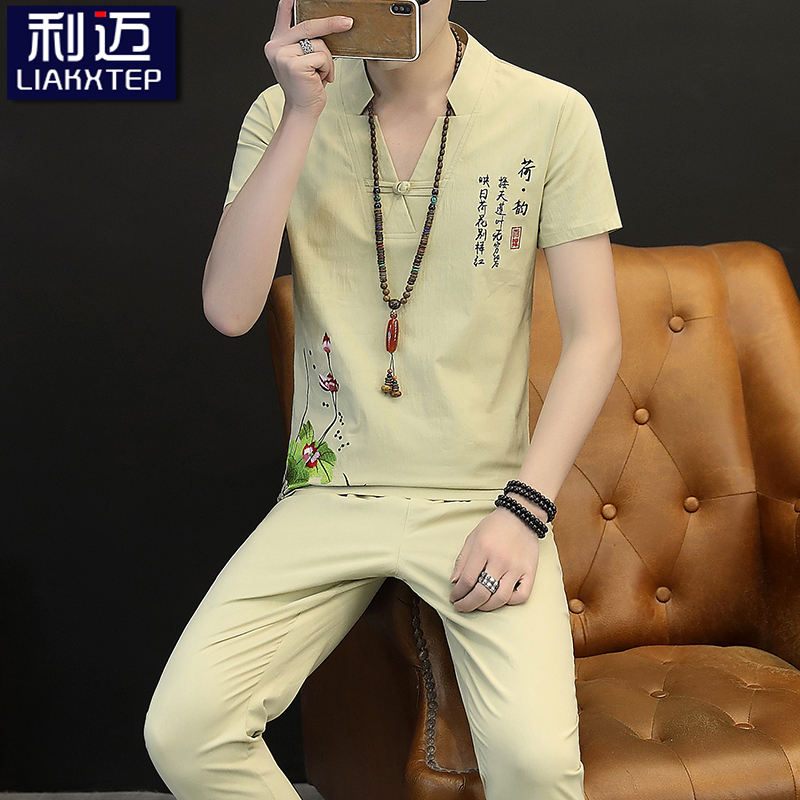 Summer linen suit mens 2019 new Chinese style short sleeve t-shirt mens embroidered cotton linen casual summer wear 2-piece T-shirt