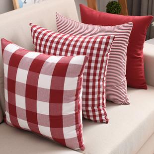 客厅沙发抱枕套床头靠枕美式大格子靠垫套不含芯办公室护腰靠背垫