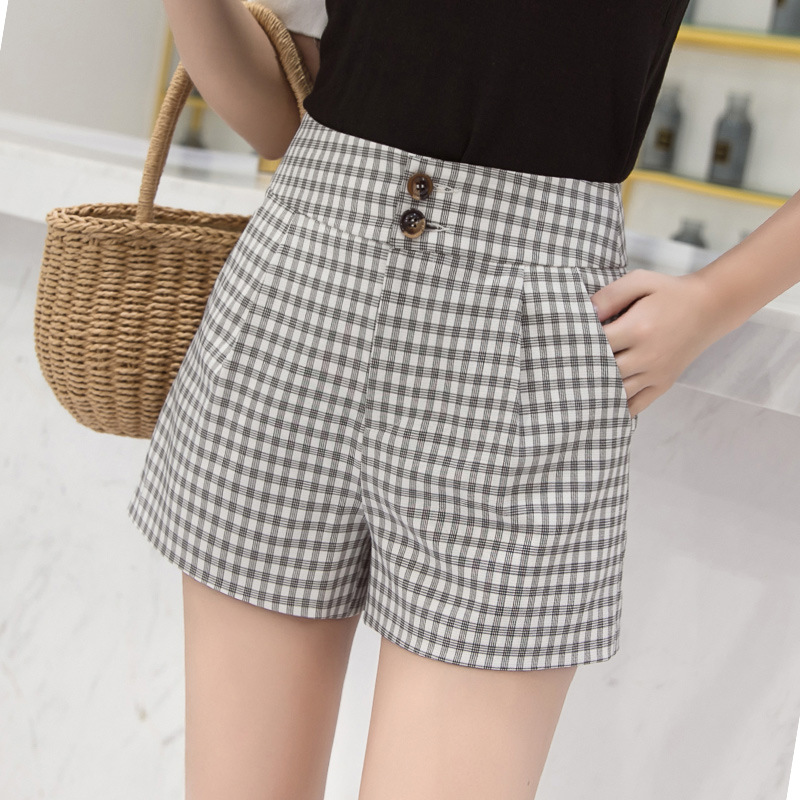 2021 summer new British style high waist Plaid wide leg shorts for female students
