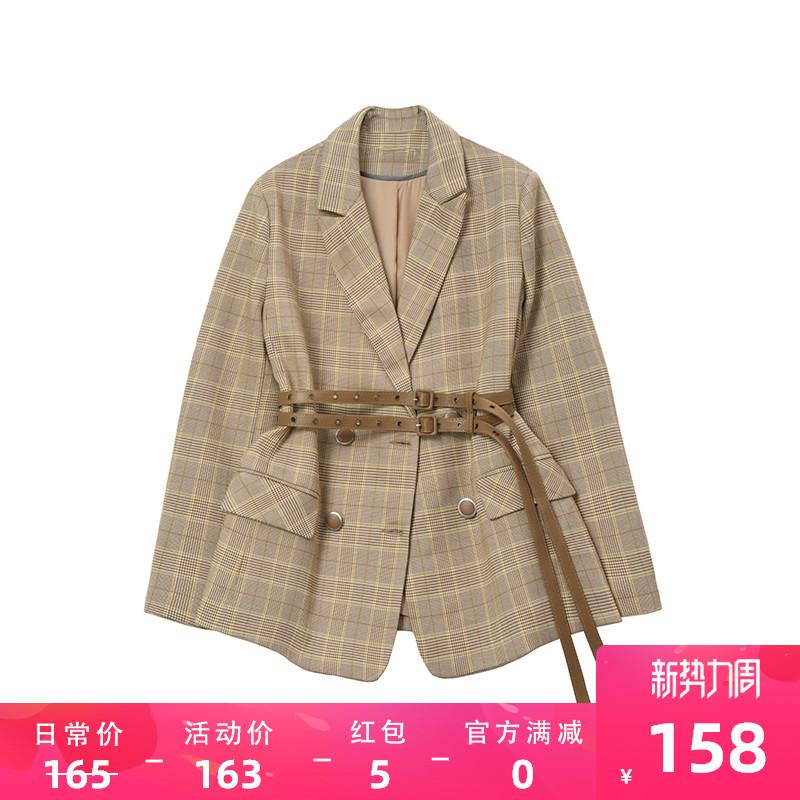 Designer Plus 格子西装外套女春法式小众洋气复古修身西服送腰带