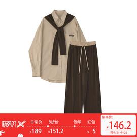 Designer Plus 秋装阔腿裤套装女披肩衬衫洋气高腰休闲裤子三件套