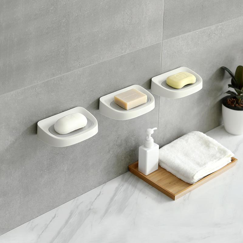 满9元可用3元优惠券吸盘壁挂沥水免打孔双层便携肥皂盒