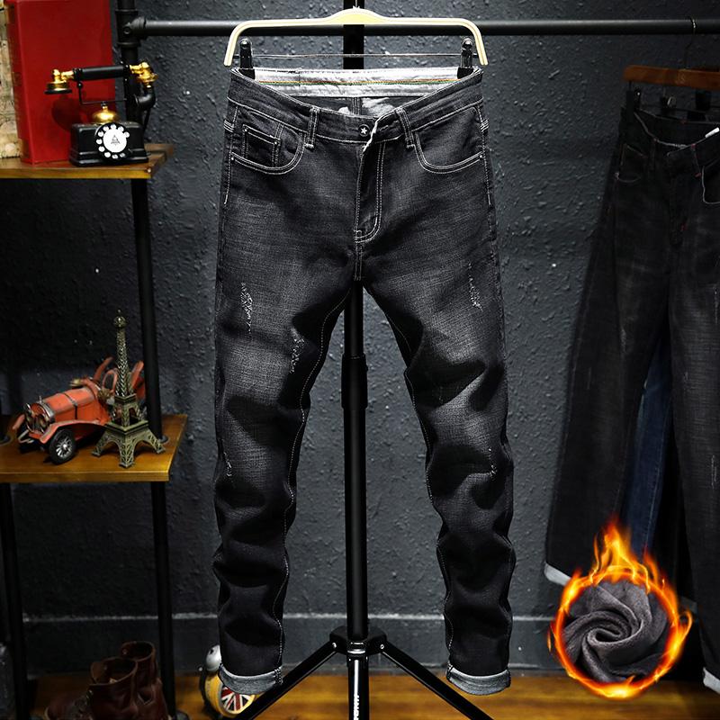 秋季男士牛仔裤男秋冬款韩版潮流修身小脚加绒加厚青年弹力长裤子