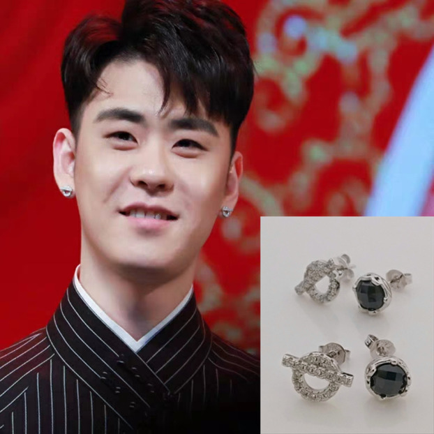 Deyun society Zhang Yunlei same type of earrings male 925 pure silver pigtail second master Meng Hetang Earrings female new earrings