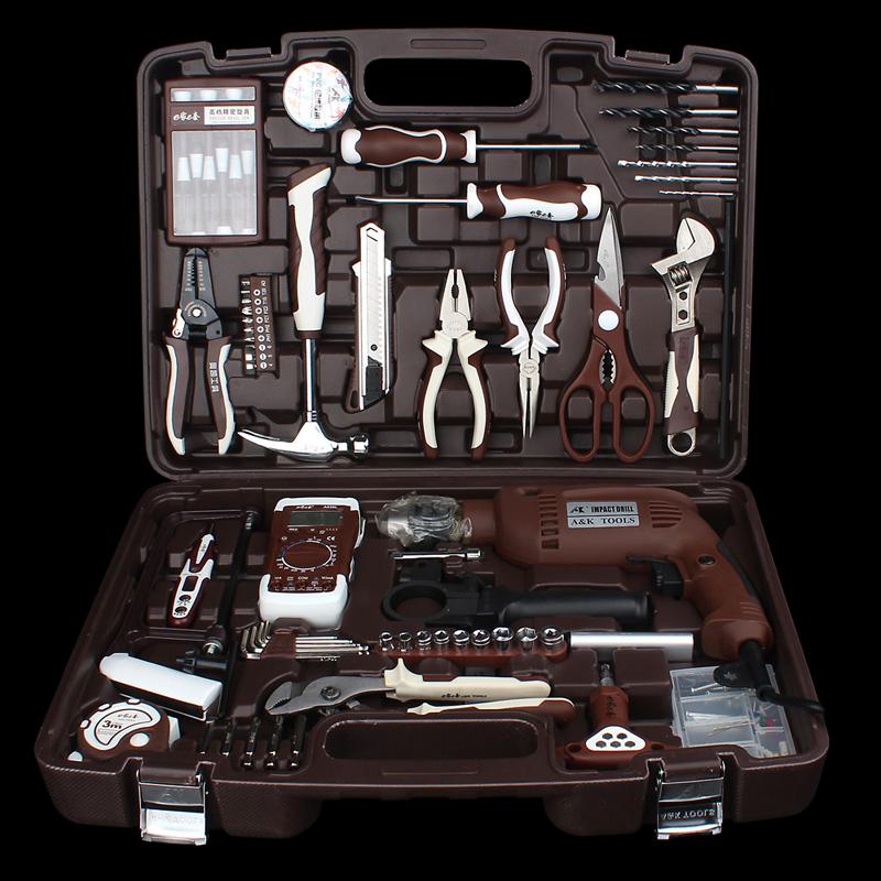 奥凯五金工具套装德国电工组套家用多功能手动维修锂电钻工具箱