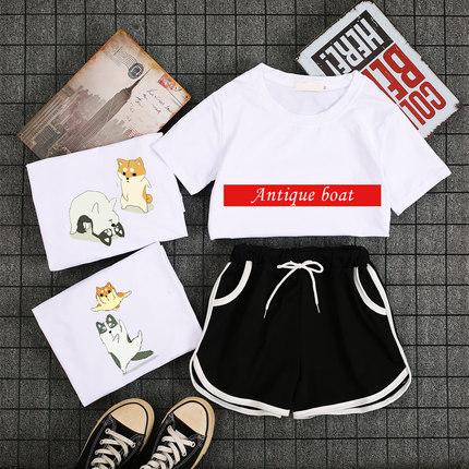 短袖短裤运动套装女夏学生时尚2019新款大码T恤印花休闲两件套女