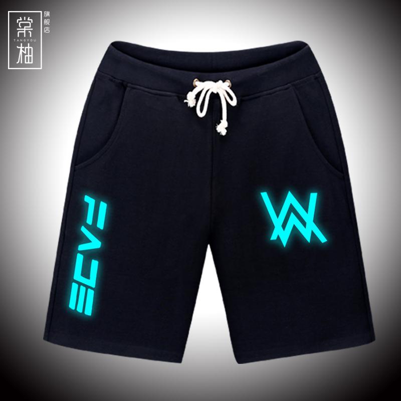 夏款艾伦沃克faded夜光裤子alanwalker短裤男女电音DJ运动休闲裤